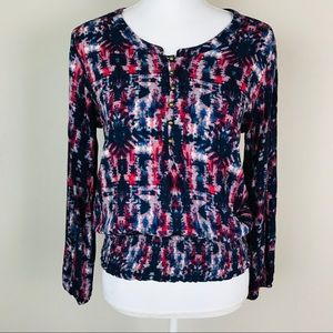 Ariat Red White & Blue Tie Dye Long Sleeve Top